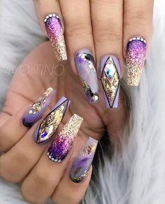 Smokey glamz 💜 share with purple lover 💜 using joya mia, purchase info is Glam Nails, Fancy Nails, Bling Nails, Love Nails, My Nails, Fabulous Nails, Gorgeous Nails, Pretty Nails, Nailart