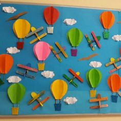 hot air balloon bulletin board for preschool or Kindergarten