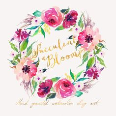 Items similar to Watercolor flower wreath-FLOURISH /Small Set/Individual PNG files / Hand Painted on Etsy