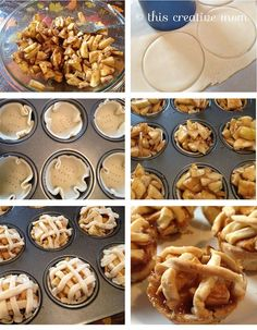 Mini apple pies. Easy and tasted great! I used a solo cup and knife to cut out the crust. And dusted some sugar on the top after baking