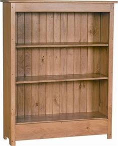 "Primitive Solid Pine Wood Bookcase from DutchCrafters Amish Furniture. Three shelf pine wood bookcase made to order in your choice of stain or paint. Well-suited for country and cottage style homes. Measures 38""w x 13""d x 48""h. #pinebookcase"