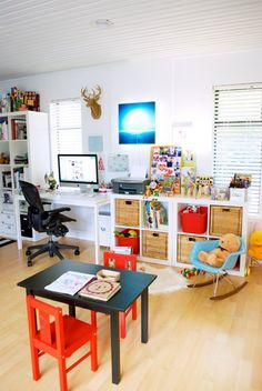 33 Playroom Decor Ideas Solutions For Your Kids, Playroom are full of toys and all types of kid-related things. The playroom is far more than only a location where kids spend a couple of hours in the. Office Playroom, Playroom Design, Guest Room Office, Playroom Decor, Home Office, Playroom Ideas, Playroom Storage, Family Office, Garage Storage