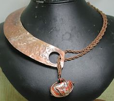 Copper and Stone Necklace Based on Vintage Style of Mid Century Modern Designer Art Smith Copper Necklace, Copper Jewelry, Leather Jewelry, Wire Jewelry, Jewelry Crafts, Jewelry Art, Jewelery, Jewelry Accessories, Jewelry Necklaces