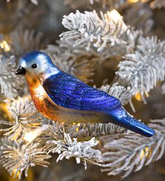 Blown Glass Bluebird Christmas Ornament | Decorating the Tree