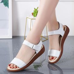 Women S Shoes European Size Conversion Key: 6544517181 Shoes Flats Sandals, White Sandals, 1940s Shoes, Fresh Shoes, Crochet Shoes, Clearance Shoes, Ankle Strap Sandals, Comfortable Shoes, Fashion Boots