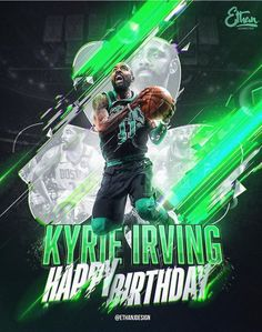 to wish player, Happy Birthday! Kyrie Irving Logo, Kyrie Irving Celtics, Irving Wallpapers, Nba Wallpapers, Celtics Basketball, Basketball Art, Basketball Videos, Motion Poster, Basketball