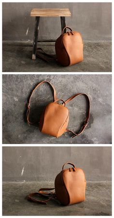 Handmade Brown Small Top Grain Leather Travel Rucksack School Backpack  Casual Daypack SQ04 8614d3a73