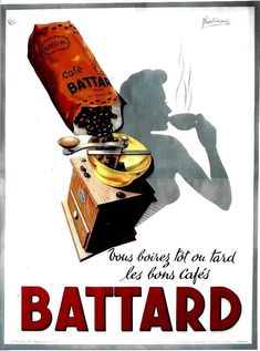 Original vintage poster BATTARD COFFEE GRINDER & BEAUTY 1950 | eBay