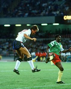 England 3 Cameroon 2 in 1990 in Naples. David Platt heads England into the lead after 25 minutes in the World Cup Final.