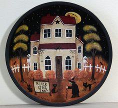 Halloween Folk Art Wood Bowl  Black Star Inn by RavensBendFolkArt