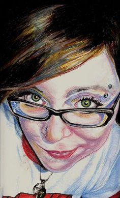 self portrait--chalk pastel on drawing paper By Amber D'Angelo