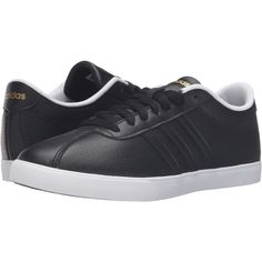 adidas Courtset (Black/Black/Gold) Women's Lace up casual Shoes ($40) ❤ liked on Polyvore featuring shoes, black, kohl shoes, gold shoes, gold lace up shoes, yellow gold shoes and adidas