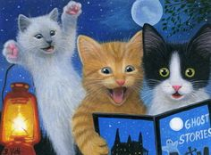 Kittens-cat-summer-night-moon-lamp-ghost-stories-OE-aceo-print-art