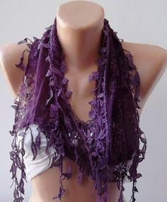 Purple Lace and Elegance Shawl / Scarf  with Lace by SwedishShop, $17.90