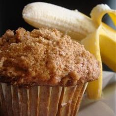 """Banana Crumb Muffins """"The crumb topping is what makes these banana muffins stand apart from the ordinary. They're scrumptious!"""""""