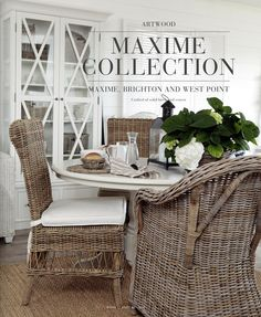 Kitchen dinette seating area inspiration.  I love wicker for this spot. I think it goes perfect with the Hamptons vibe.