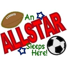 Allstar Sleeps Here Applique - 4 Sizes! | Soccer | Machine Embroidery Designs | SWAKembroidery.com Band to Bow