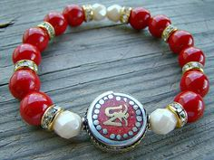 Stretch Bracelet, Red Mountain Jade, Cream Czech Glass Bead, Gold Plated Clear Rhinestone Spacer Bead Stacking Bracelet with Tibetan Om Bead by BeJeweledByCandi, $37.00