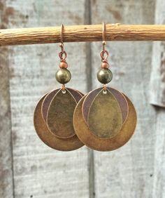 Mixed Metal Copper Brass Dangle Boho Earrings
