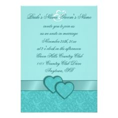 TEAL - The example shown is a Satin Ribbon & Damask Hearts Wedding Invitation. Browse this and more teal hued invitations.