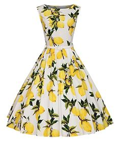 Vintage 1950s style 50s Rockabilly Floral Spring Garden P...…