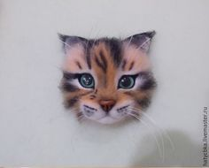 Needle Felted Cat, Felt Cat, Cat Pin, Felt Brooch, Felt Toys, Felt Animals, Master Class, Wool Felt, Mittens