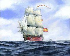 Carlos Parrilla Penagos - Pintura naval Spanish Armada, Ship Of The Line, Ship Drawing, Sailing Ships, Sailing Boat, Nautical Art, Navy Ships, Model Ships, Sailboat