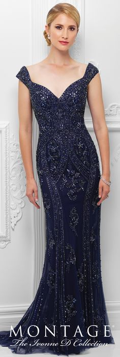 Formal Evening Gowns by Mon Cheri - Spring 2017 - Style No. 117D67 - navy blue hand-beaded sheath evening dress with cap sleeves