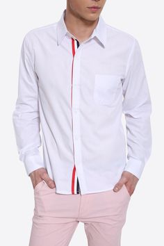 Slim Fit Tricolor Stripes Insert Long Sleeve Shirt In White