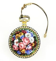 Gold & fine enamel pearl set duplex pocket watch, 1830, offered by Pieces of Time, Grays Mews.