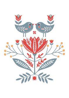 Folk Art Flowers, Flower Art, Christmas Illustration, Illustration Art, Bird Canvas, Scandinavian Folk Art, Couture, Art Google, Framed Art