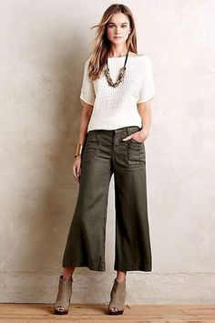 Wide Leg Jeans Ideas That Trending On Summer 2019 01 Looks Chic, Looks Style, My Style, Cropped Wide Leg Jeans, Wide Leg Pants, Cropped Trousers, Jean Moda, Look Jean, Casual Outfits
