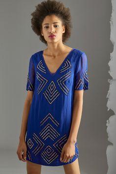 Venda French Connection / 33143 / Vestidos / Colorido liso / Vestido com sequins Azul majorelle