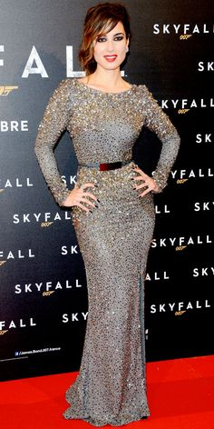 Marlohe paired her sequin Elie Saab column with Norman Silverman diamonds at the Paris premiere of Skyfall.
