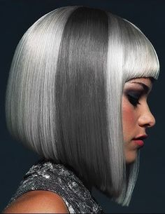 Silver and Grey?  How would you rock this medium bob haircut?  Those blunt bangs work though.