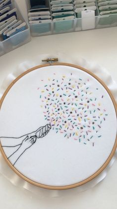 Hand embroidery pattern for beginners. Easy hand embroidery with thorough instructions in PDF Hand Embroidery Patterns Free, Hand Embroidery Videos, Embroidery Stitches Tutorial, Embroidery Flowers Pattern, Embroidery On Clothes, Hand Embroidery Stitches, Embroidery Hoop Art, Vintage Embroidery, Geometric Embroidery