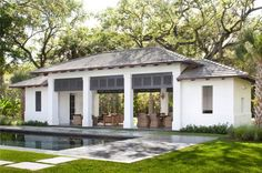 Love this style for an actual main house Contemporary Poolside Cabana Exterior Outdoor Cabana, Pool Cabana, Backyard Cabana, Pool Porch, Porch Swing, Front Porch, Outdoor Rooms, Outdoor Living, Pool House Designs