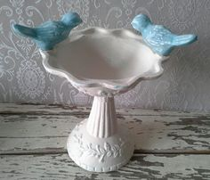 Pedestal bowl Bird bath bowl Cast iron Cottage by SavannahsCottage