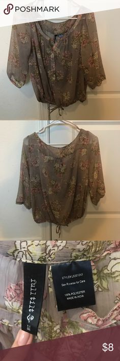 Floral blouse with 3/4 sleeves Floral sheer blouse size M. Please ask questions before purchasing Tops Blouses