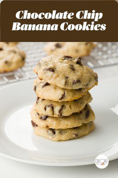 These soft chocolate chip banana cookies are like an addictive grab-and-go banana bread! They are a great way to use up super ripe bananas and they're so easy to make!