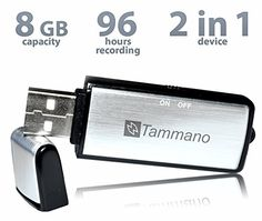 2 in One - Voice Recorder & 8 GB Memory Stick (USB Flash Drive). It looks like only a USB drive, but it's also a recording device. No one will think that you are making a recording when you put this on the table during a conversation.  http://www.amazon.com/USB-Sound-Recorder-Flash-Drive/dp/B00T8JFXXI/ref=sr_1_145?s=electronics&ie=UTF8&qid=1425940207&sr=1-145&keywords=audio+Recorder