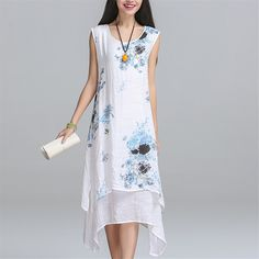 >>>Are you looking fornew fashion summer style cotton linen plus size vintage print women casual loose dress vestidos femininos party 2016 dresses-in Dresses from Women's Clothing