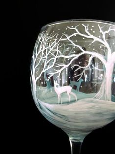 Items similar to Winter Wine Glass Hand Painted White Reindeer Snow Capped Pine Tree Seasonal Holiday Stemware Frosted Blue Ice Collectible Artistic Gift on Etsy Broken Glass Art, Sea Glass Art, Stained Glass Art, Glass Paint, Shattered Glass, Fused Glass, Advent, Christmas Wine Glasses, White Paint Pen