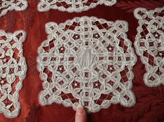 12 handmade lace coasters, goblet rounds c1920s
