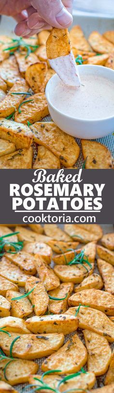 These flavorful Baked Rosemary Potatoes are going to be loved by everyone in your family! Just a few simple ingredients create so much flavor and aroma! I recommend serving these with my garlicky sauce. ❤ COOKTORIA.COM