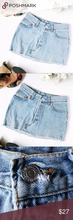 Vintage Levi's Cut Off Denim Skirt So perfect to pair with a really cute pair boots! Please note the skirt does not have a size tag. Additional small fraying near the button hole. Please see measurements for fit. L 13 W 13. Stock 69 –79 Levi's Skirts Mini