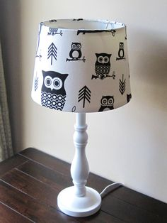 Black and White Hootie Owl - Lamp - OOAK