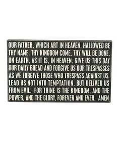 Another great find on #zulily! Black 'Our Father' Box Sign by Primitives by Kathy #zulilyfinds