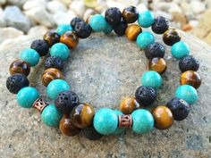 Tiger's Eye, Spotted Turquoise Magnesite and Lava- Unisex Bracelet  Rub a drop of essential oil on the lava stone and it acts as a personal diffuser for about 3 days. [ LavHa.com ]