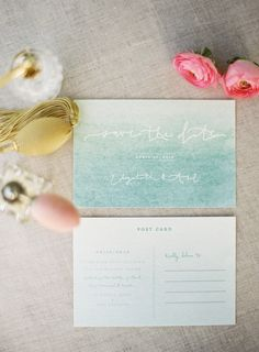Aqua watercolor invites. Ruffle Ink. Photography: Stefanie Kapra Photography - www.stefaniekapraphoto.com  Read More: http://www.stylemepretty.com/2014/06/11/charming-plantation-wedding-inspiration-shoot/
